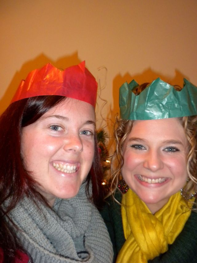 Christmas morning Katharine and I exchanged gifts.  We both gave each other a scarf :)  We also, in good English fashion, wore our crowns from the poppers.